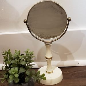 Vtg Midcentury Cream Brass Dual Side Vanity Mirror